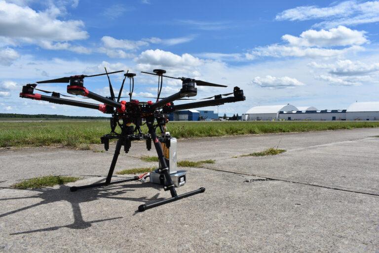Closeup of drone on pavement